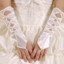 Satin Handschuhe weiss