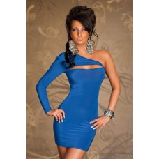 Einarm Minikleid blau