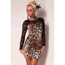 Leopard Spitze Kleid