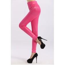 Hohe Kunstleder Leggings pink