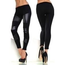 Leggings mit Kunstleder schwarz