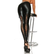 Wet-Look Leggings schwarz