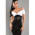 Kurzarm Shirt weiss/schwarz